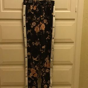 Black floral snap up the side yoga pants
